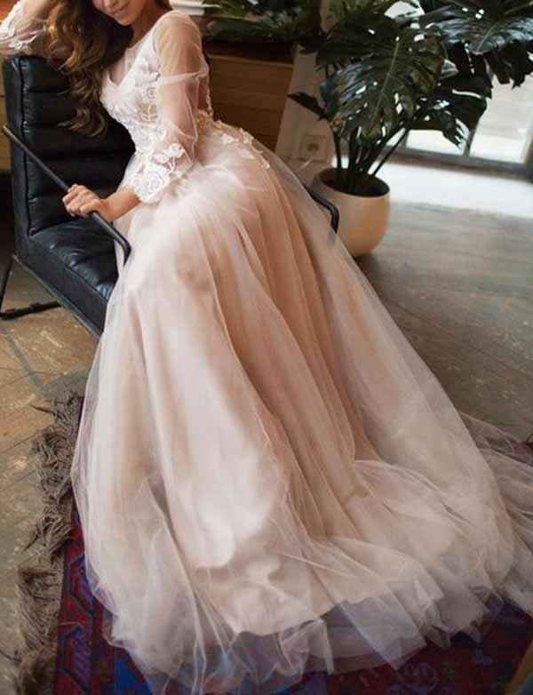 Charming A Line Long Sleeves Ivory Tulle Evening Dresses,Cheap Prom Dresses,PDY0569