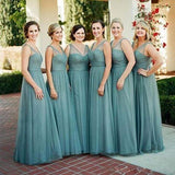V-neck Green Tulle Long A-line Bridesmaid Dresses, Popular Cheap Wedding Guest Dresses, BG0344