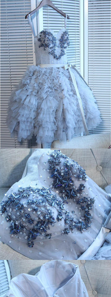 Sweetheart Grey Tutu Skirt Beaded Homecoming Dresses,Cheap Short Prom Dresses,BDY0263