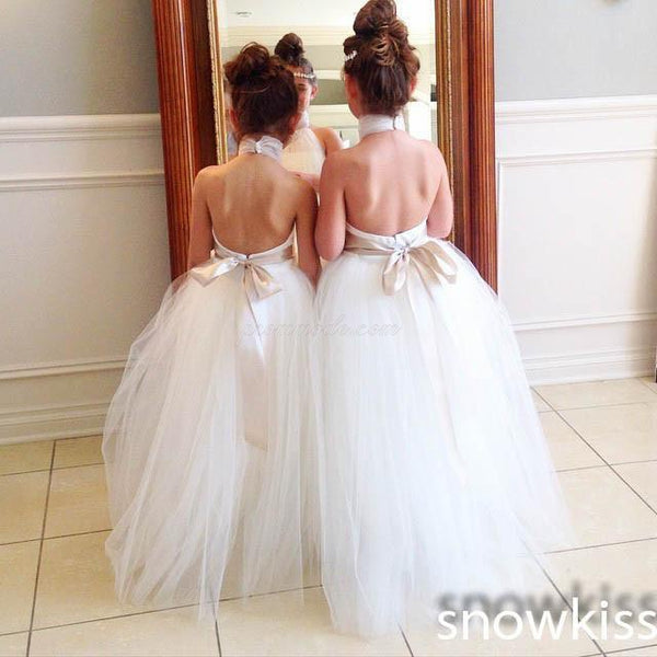 Halter Cute Tulle Fluffy Backless Flower Girl Dresses With Belt, FGY0125