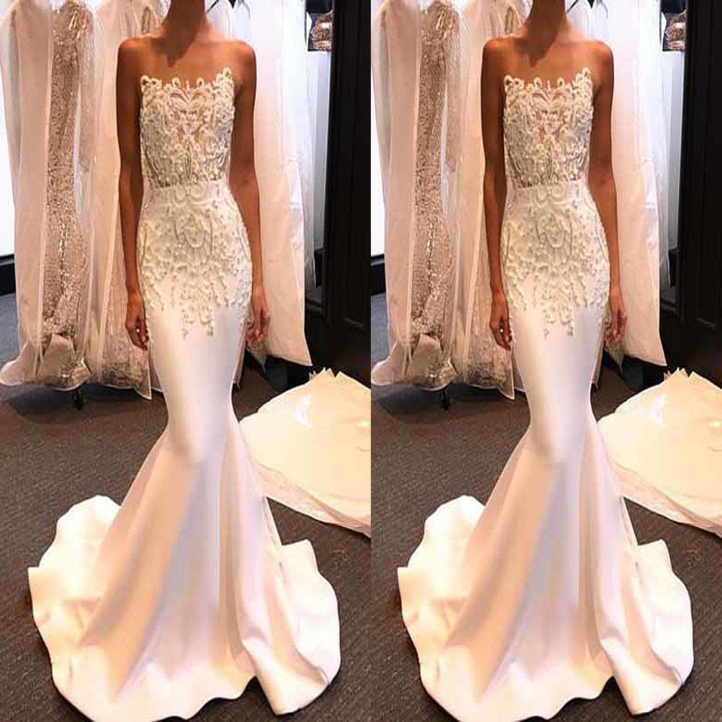 Luxurious Mermaid Strapless White Long Prom Dress With Lace Beading, Party Evening Gowns . PDY0196