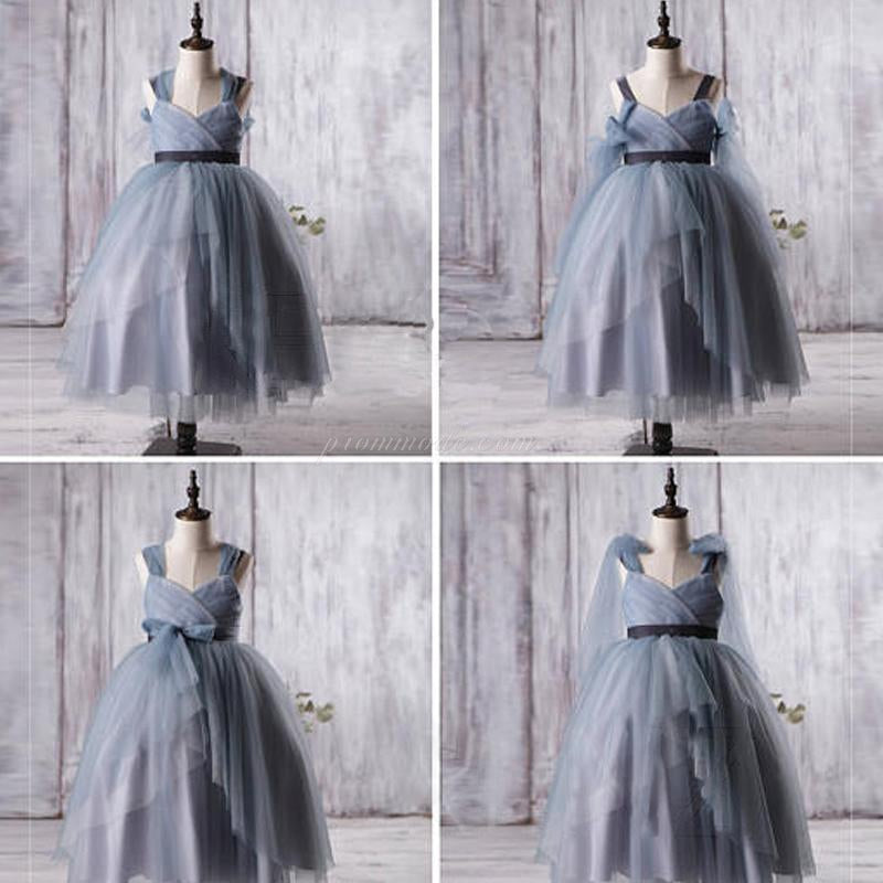 Dusty Blue Tulle Flower Girl Dresses, A-line Little Girl Dresses, Affordable Junior Bridesmaid Dresses, FGY0117