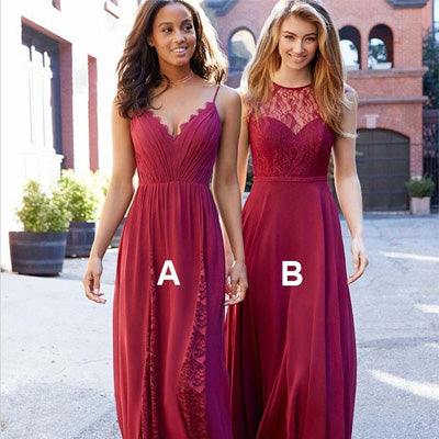 Spaghetti Straps Red Chiffon Bridesmaid Dresses,Cheap Bridesmaid Dresses,WGY0370