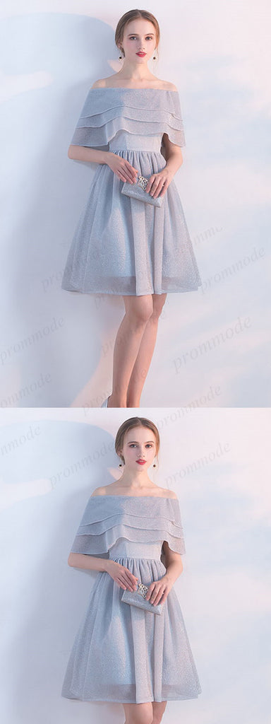 Grey Off-The-Shoulder Ruffle Homecoming Dresses,Elegant Short Prom Dresses,BDY0209