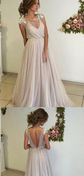 A-line Open Back Long Ivory Tulle Prom Dresses,Cheap Prom Dresses,PDY0524