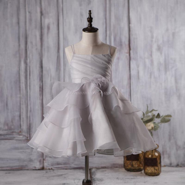 Cute Light Grey Organza Bustled Flower Little Girl Dresses, Cheap Flower Girl Dresses, FGY0111