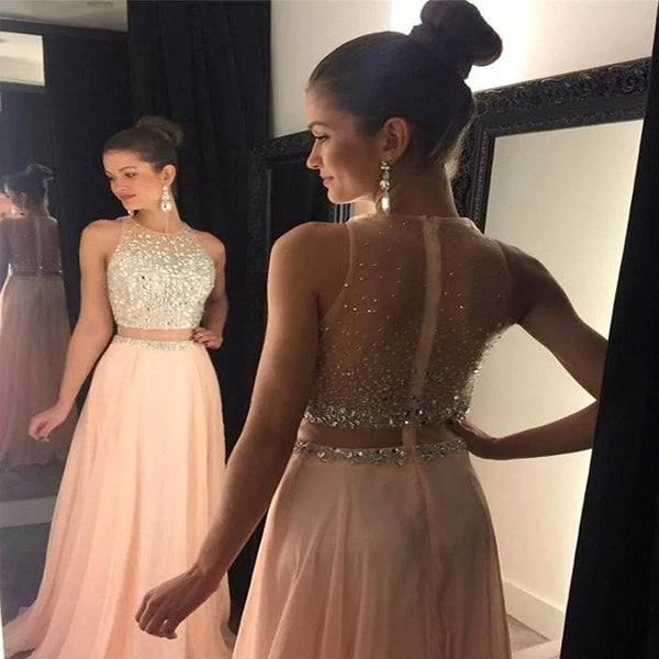 2019  Pink Chiffon Rhinestone Long Sleeveless Prom Dresses, Fashion Modern Prom Dress, Party Dress, PDY0158