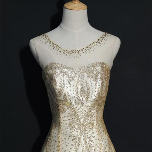 Beading Gold Sparkly Gorgeous Lace Up Back Prom Dress, Unique Design Dress for party, PDY0126