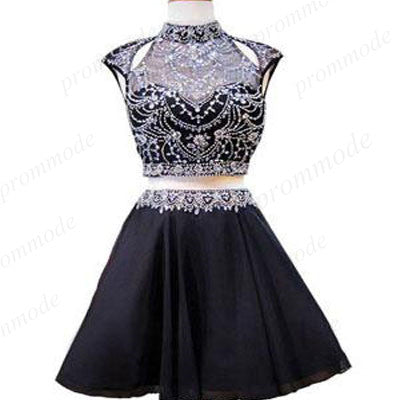 Two Piece A-line High Neck Beaded Homecoming Dresses ,Cute Short Prom Dresses,BDY0210