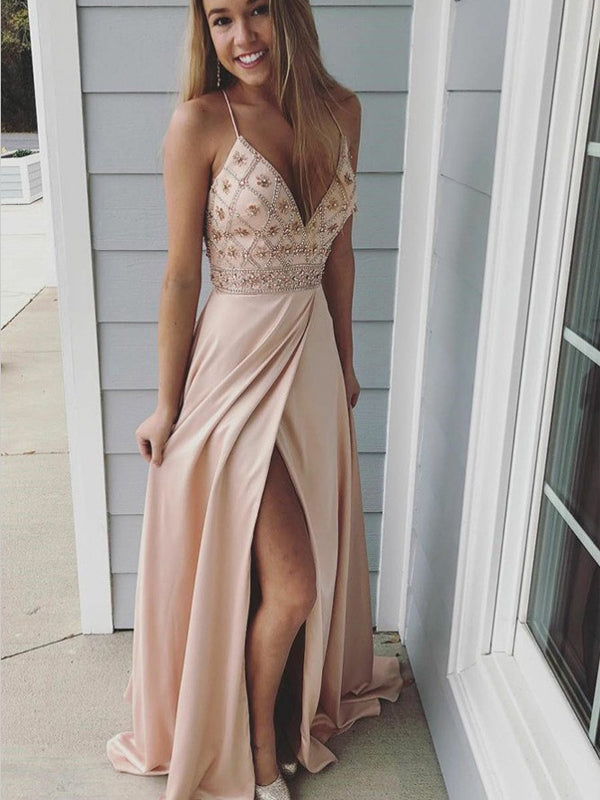 A-Line Spaghetti Straps Pink Beaded Prom Dress,Cheap Prom Dress,PDY0392