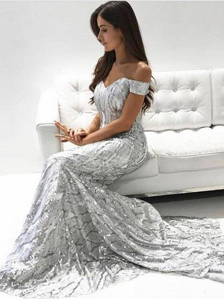 Mermaid Off-the-Shoulder Long Silver Prom Dress,Cheap Prom Dresses,PDY0655