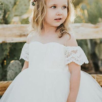 Illusion A-Line White Lace Flower Girl Dress ,Cheap Flower Girl Dresses ,FGY0230