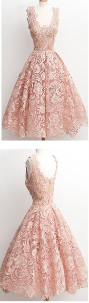 Dark Pink Lace Floral prints Vintage tea length elegant casual homecoming prom dresses,BDY0132