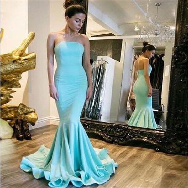 Simple Strapless Long Mermaid Zip Up Soft Satin Prom Bridesmaid Dresses, BG0023