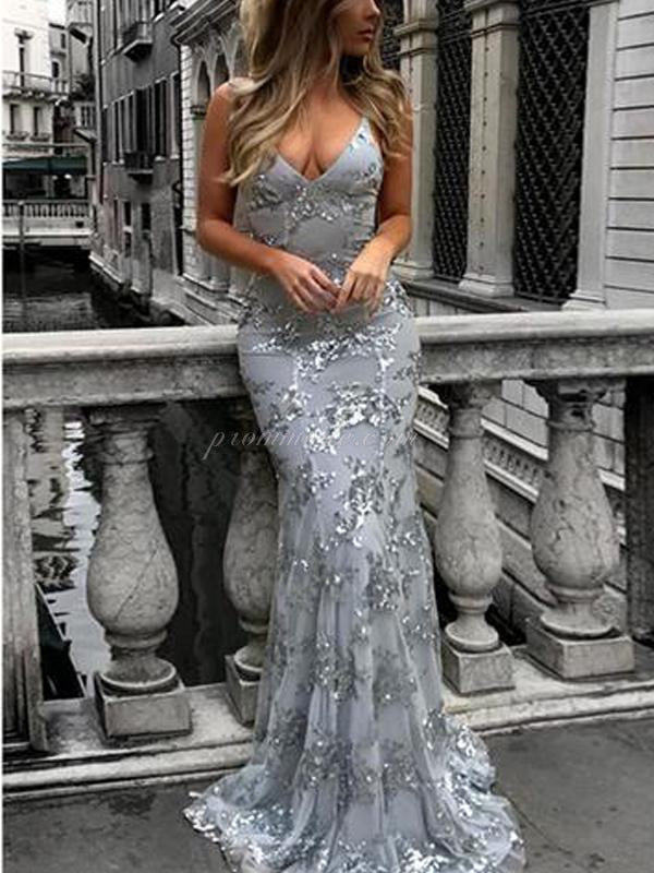 Charming Chaep Sequin Silver Sparkly Mermaid Popular Newest Prom Dresses, Fashion Gown, Evening Dresses, PDY0102