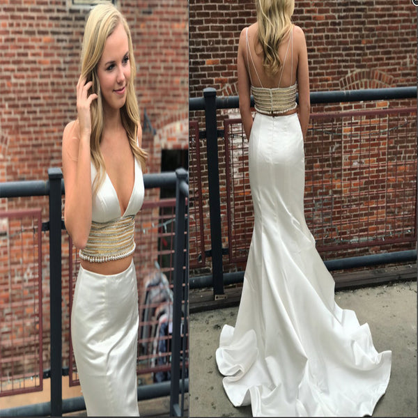 2019  Special Spaghetti Strap Two Piece White Mermaid Long Evening Dress, Pretty Party Prom Dresses PDY0161