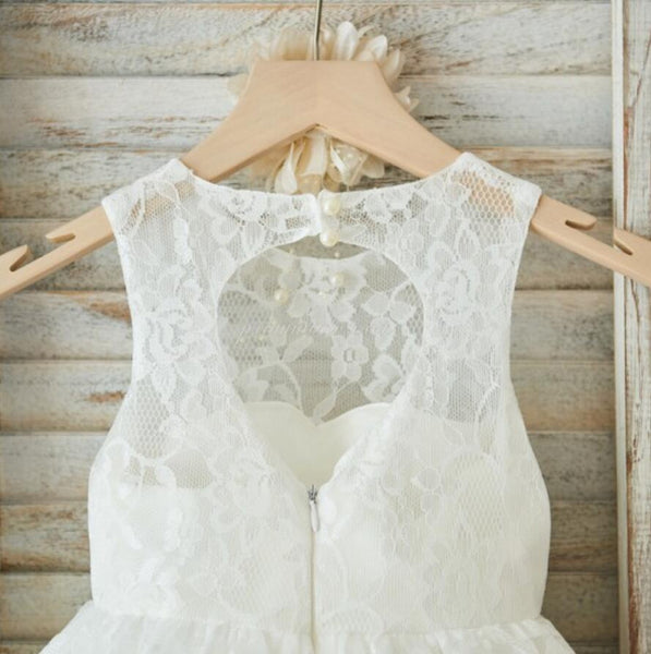 Ivory Cute Lace Flower Girl Dresses, Open Back Little Girl Dresses, FGY0133