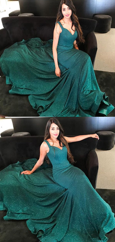 Spaghetti Straps V-neck Dark Green Satin Prom Dresses,Cheap Prom Dresses,PDY0482