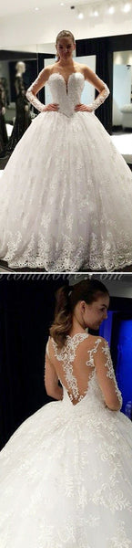 Cheap Stunning Scoop Neck Long Sleeve Lace Ball Gown Wedding Dresses, WDY0122