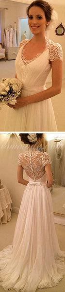 Elegant Cap Sleeve See Through Lace Top Sheath Cheap Wedding Dresses, WDY0131