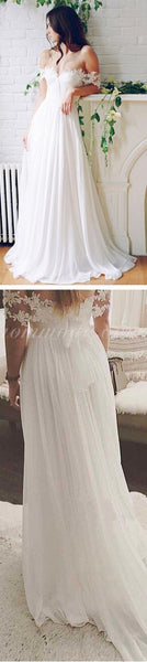 2019  Popular Off Shoulder Long A-line White Chiffon Sexy Lace Wedding Dresses, WDY0103