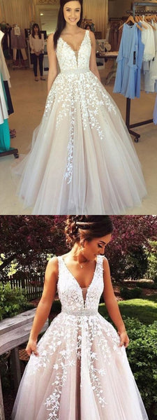 A-Line V-Neck Tulle Beaded Prom Dresses With Appliques,Cheap Prom Dress,PDY0389