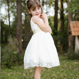 A-Line Open Back White Lace Flower Girl Dress with Sequins,Cheap Flower Girl Dresses ,FGY0232