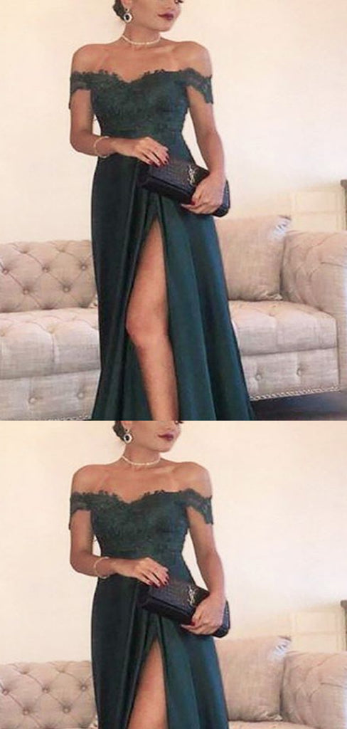 Off-the-Shoulder Dark Green Lace Long Prom Dresses ,Cheap Prom Dresses,PDY0452