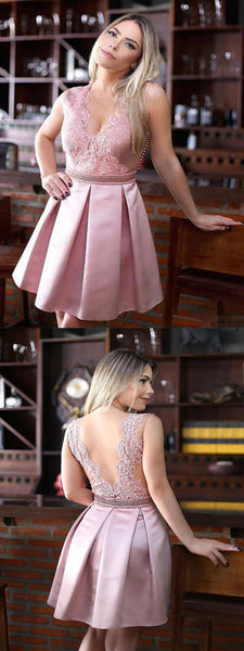 Pink V-back A-line Lace Homecoming Dresses,Unique Short Prom Dresses,BDY0213