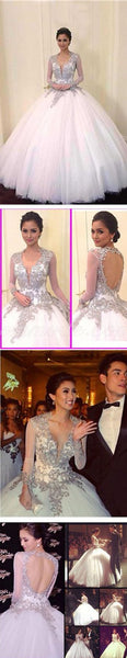 Cheap V-neck Long Sleeve Silver Lace Open Back Ball Gown Wedding Dresses, WDY0123