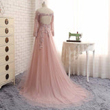 2017 Off Shoulder Long Sleeve Lace Beaded Long A-line Open Back Prom Wedding Dresses, BG0153