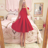 Fashionable Satin Red Ball Short Gown Homecoming Dress ,BDY0159
