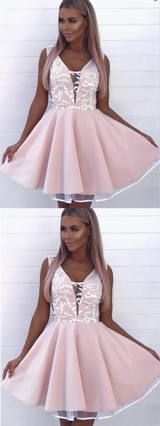 A-Line V-Neck Pink Satin Lace Homecoming Dresses ,Short Prom Dresses,BDY0280