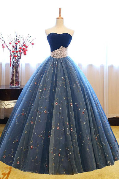 Blue Sweetheart Neck Tulle Long Prom Gown, Blue Sweet Prom Dress With Beadings.PDY0250