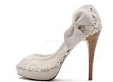 Ivory Lace High Heels Fish Toe Sexy Wedding Bridal Shoes, SY0120