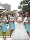 Tube-top Knee-length Blue Satin Bridesmaid Dresses with Sash, Classic Pageant Princess Dresses, Short Evening Party Dresses, EPR348