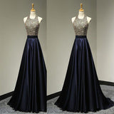 Charming Dark Blue Prom Dress,Navy Satin Evening Dress,Shinning Beading Party Gown , Fashion Gown. PDY0194