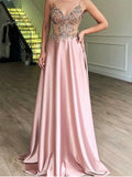 A-Line Spaghetti Straps Pink Satin Evening Dresses ,Cheap Prom Dresses,PDY0598