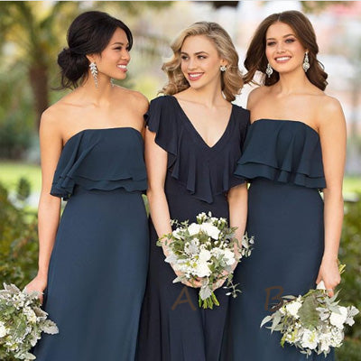 Sheath Navy Blue Chiffon Bridesmaid Dresses,Cheap Bridesmaid Dresses,WGY0378