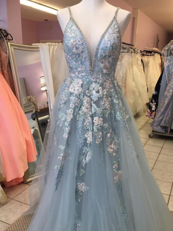 A-line Spaghetti Straps V-neck Blue Long Prom Dresses ,Cheap Prom Dresses,PDY0454