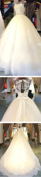 Cheap Popular Stunning Ivory Lace Top A-line Wedding Dresses, Bridal Gown, WDY0121