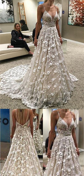 Spaghetti Straps V-neck Backless Wedding Dresses,Cheap Wedding Dresses, WDY0286