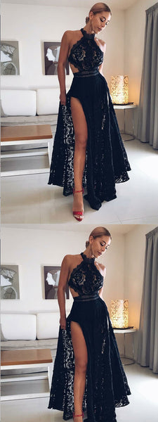 A-Line Halter Floor Length Open Back Split Black Lace Prom Dresses,Cheap Prom Dress,PDY0385