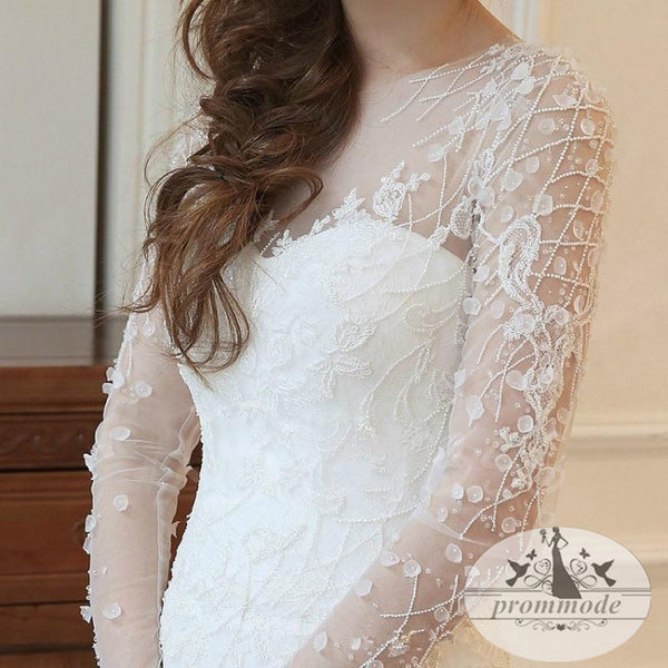 Mermaid Long Sleeves Court Train Wedding Dresses With Beading, Dresses For Wedding, WDY0144