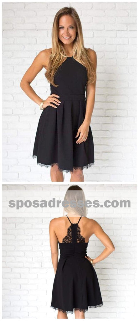 Simple Casual Short Cheap Black Homecoming Dresses CM524