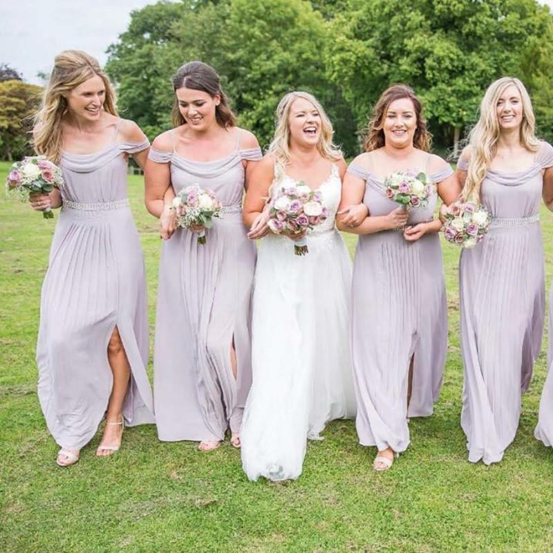 Pale Lilac Chiffon Off Shoulder Cheap Custom Bridesmaid Dresses Online, WG215