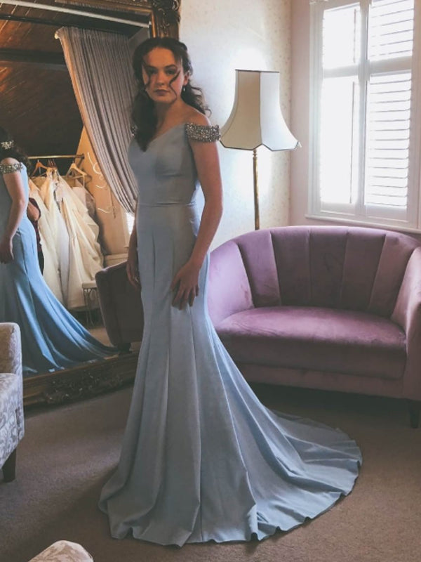 Mermaid Off-the-Shoulder Blue Long Prom Dresses ,Cheap Prom Dresses,PDY0455
