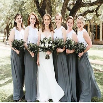 Two Piece A-line Grey Chiffon Bridesmaid Dresses,Cheap Bridesmaid Dresses,WGY0367