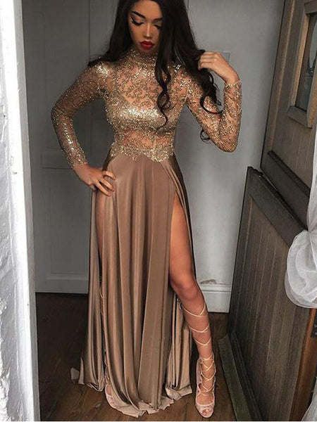 A Line Long Sleeves Satin Evening Dresses ,Cheap Prom Dresses,PDY0597