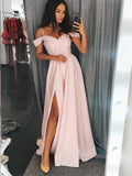 A-Line Off-the-Shoulder Red Elastic Satin Split Prom Dresses,Cheap Prom Dress,PDY0387